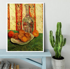Still Life with Decanter and Lemons on a Plate by Van Gogh Framed Print - Canvas Art Rocks -6