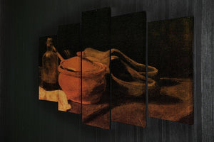 Still Life with Earthenware Bottle and Clogs by Van Gogh 5 Split Panel Canvas - Canvas Art Rocks - 2