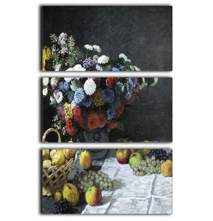 Still Life with Flowers and Fruits by Monet 3 Split Panel Canvas Print