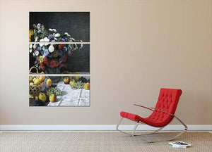 Still Life with Flowers and Fruits by Monet 3 Split Panel Canvas Print - Canvas Art Rocks - 2