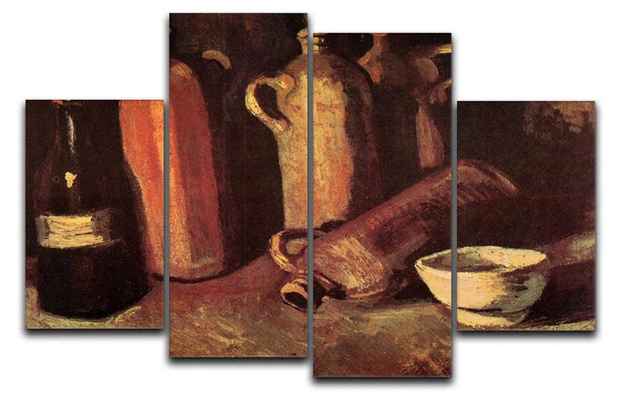 Still Life with Four Stone Bottles Flask and White Cup by Van Gogh 4 Split Panel Canvas