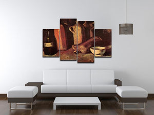 Still Life with Four Stone Bottles Flask and White Cup by Van Gogh 4 Split Panel Canvas - Canvas Art Rocks - 3