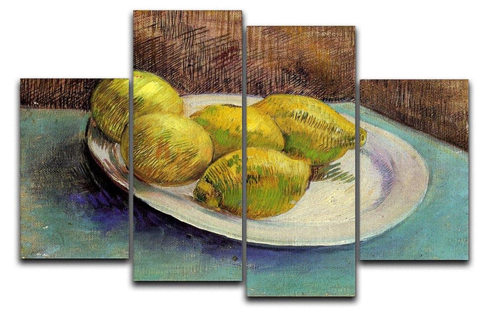 Still Life with Lemons on a Plate by Van Gogh 4 Split Panel Canvas