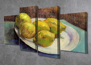 Still Life with Lemons on a Plate by Van Gogh 4 Split Panel Canvas - Canvas Art Rocks - 2