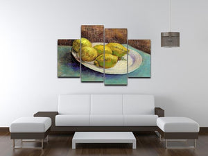 Still Life with Lemons on a Plate by Van Gogh 4 Split Panel Canvas - Canvas Art Rocks - 3