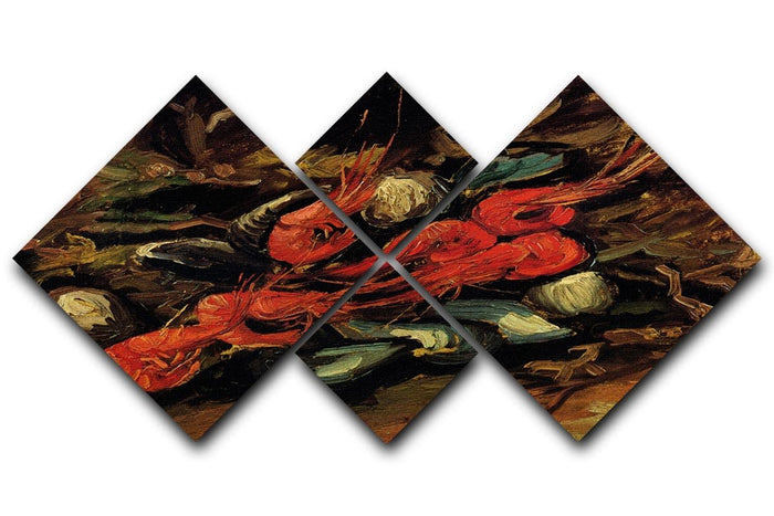 Still Life with Mussels and Shrimps by Van Gogh 4 Square Multi Panel Canvas