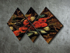Still Life with Mussels and Shrimps by Van Gogh 4 Square Multi Panel Canvas - Canvas Art Rocks - 2