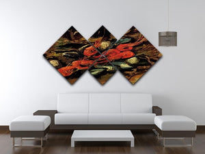 Still Life with Mussels and Shrimps by Van Gogh 4 Square Multi Panel Canvas - Canvas Art Rocks - 3