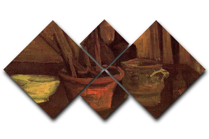 Still Life with Paintbrushes in a Pot by Van Gogh 4 Square Multi Panel Canvas