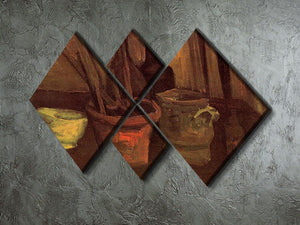 Still Life with Paintbrushes in a Pot by Van Gogh 4 Square Multi Panel Canvas - Canvas Art Rocks - 2