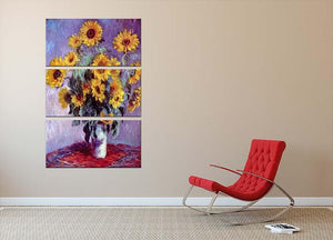 Still Life with Sunflowers by Monet 3 Split Panel Canvas Print - Canvas Art Rocks - 2
