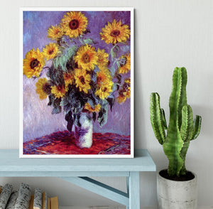 Still Life with Sunflowers by Monet Framed Print - Canvas Art Rocks -6