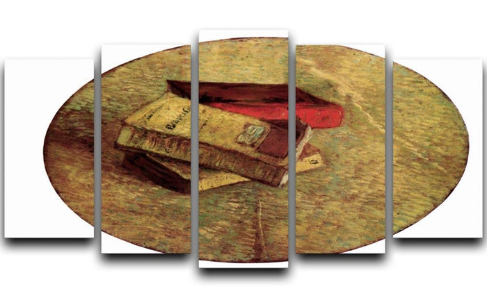 Still Life with Three Books by Van Gogh 5 Split Panel Canvas