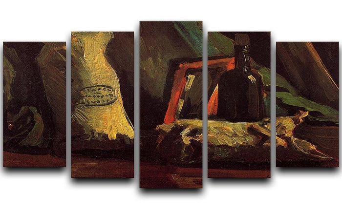 Still Life with Two Sacks and a Bottl by Van Gogh 5 Split Panel Canvas