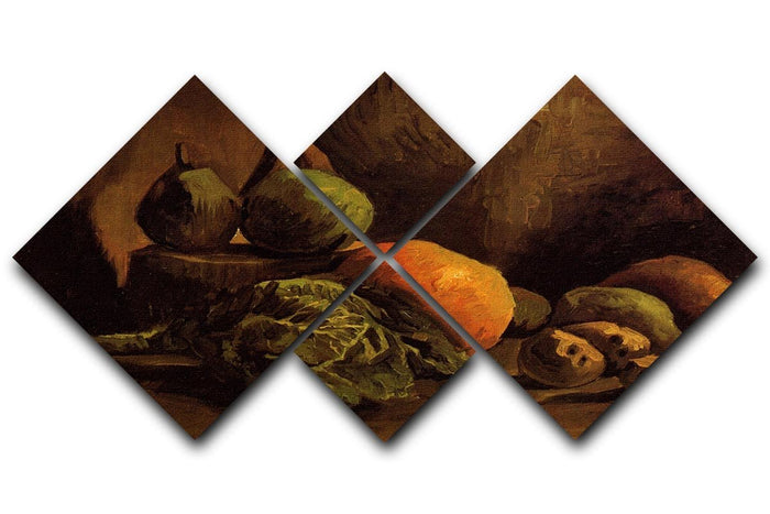 Still Life with Vegetables and Fruit by Van Gogh 4 Square Multi Panel Canvas