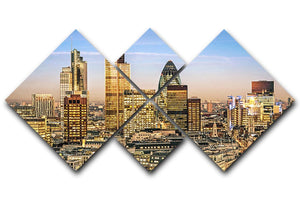Stock Exchange Tower and Lloyds of London 4 Square Multi Panel Canvas  - Canvas Art Rocks - 1