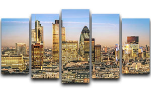 Stock Exchange Tower and Lloyds of London 5 Split Panel Canvas  - Canvas Art Rocks - 1
