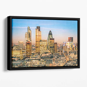 Stock Exchange Tower and Lloyds of London Floating Framed Canvas