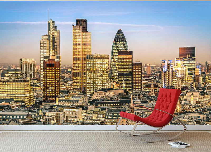 Stock Exchange Tower and Lloyds of London Wall Mural Wallpaper - Canvas Art Rocks - 1