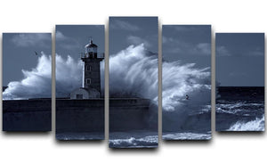 Stormy waves over old lighthouse 5 Split Panel Canvas  - Canvas Art Rocks - 1