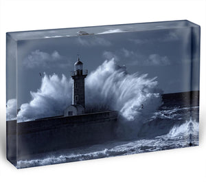 Stormy waves over old lighthouse Acrylic Block - Canvas Art Rocks - 1
