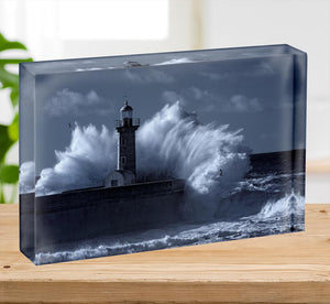 Stormy waves over old lighthouse Acrylic Block - Canvas Art Rocks - 2