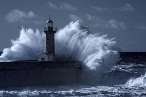 Stormy waves over old lighthouse Wall Mural Wallpaper - Canvas Art Rocks - 1