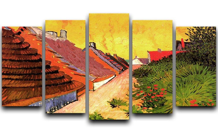 Street in Saintes-Maries by Van Gogh 5 Split Panel Canvas