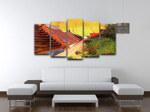 Street in Saintes-Maries by Van Gogh 5 Split Panel Canvas - Canvas Art Rocks - 3