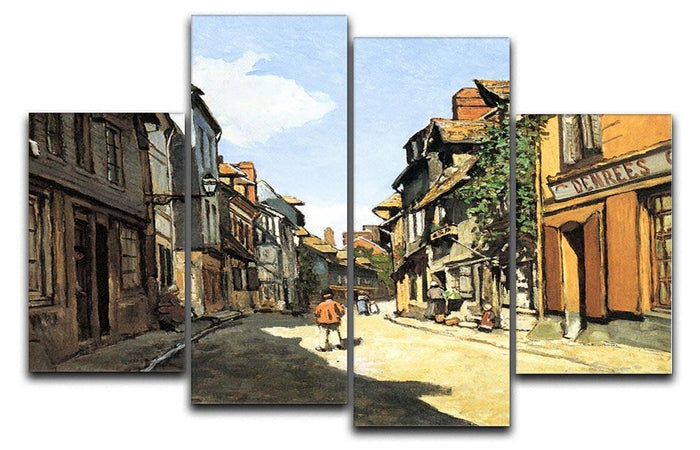Street of Bavolle by Monet 4 Split Panel Canvas