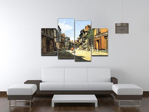 Street of Bavolle by Monet 4 Split Panel Canvas - Canvas Art Rocks - 3