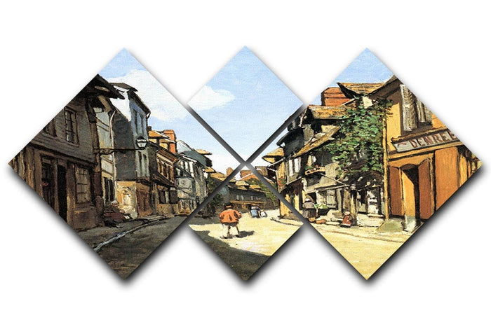 Street of Bavolle by Monet 4 Square Multi Panel Canvas