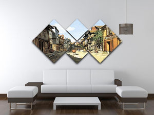 Street of Bavolle by Monet 4 Square Multi Panel Canvas - Canvas Art Rocks - 3