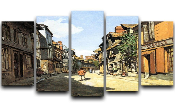 Street of Bavolle by Monet 5 Split Panel Canvas