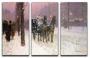 Street scene with two cabs by Hassam 3 Split Panel Canvas Print - Canvas Art Rocks - 1