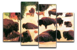 Study of Buffaloes by Bierstadt 4 Split Panel Canvas - Canvas Art Rocks - 1