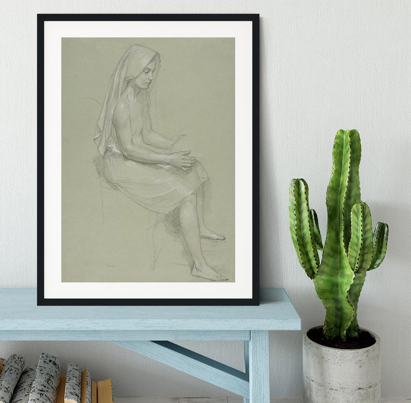 Study of a Seated Veiled Female Figure 19th Century By Bouguereau Framed Print - Canvas Art Rocks - 1