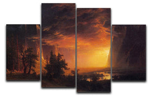 Sunrise in Yosemite Valley by Bierstadt 4 Split Panel Canvas - Canvas Art Rocks - 1