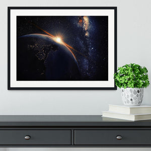 Sunrise seen from space Framed Print - Canvas Art Rocks - 1