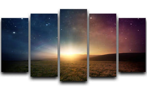 Sunrise with stars and galaxy in night 5 Split Panel Canvas  - Canvas Art Rocks - 1