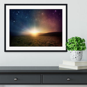 Sunrise with stars and galaxy in night Framed Print - Canvas Art Rocks - 1