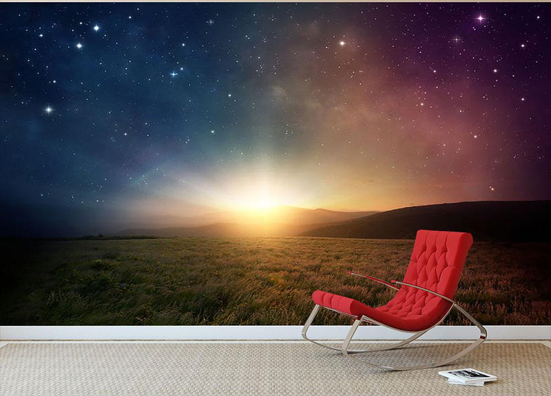 Sunrise with stars and galaxy in night Wall Mural Wallpaper - Canvas Art Rocks - 1