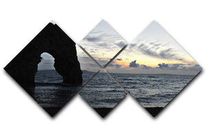 Sunset at Durdle Door 4 Square Multi Panel Canvas - Canvas Art Rocks - 1