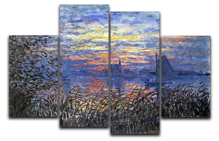 Sunset on the Seine by Monet 4 Split Panel Canvas