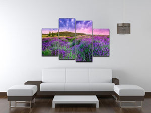 Sunset over a summer lavender field 4 Split Panel Canvas  - Canvas Art Rocks - 3