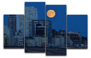 Super moon over Brighton 4 Split Panel Canvas - Canvas Art Rocks - 1