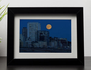 Super moon over Brighton Framed Print - Canvas Art Rocks - 1