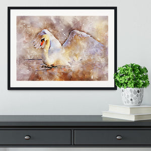 Swan Painting Framed Print - Canvas Art Rocks - 1
