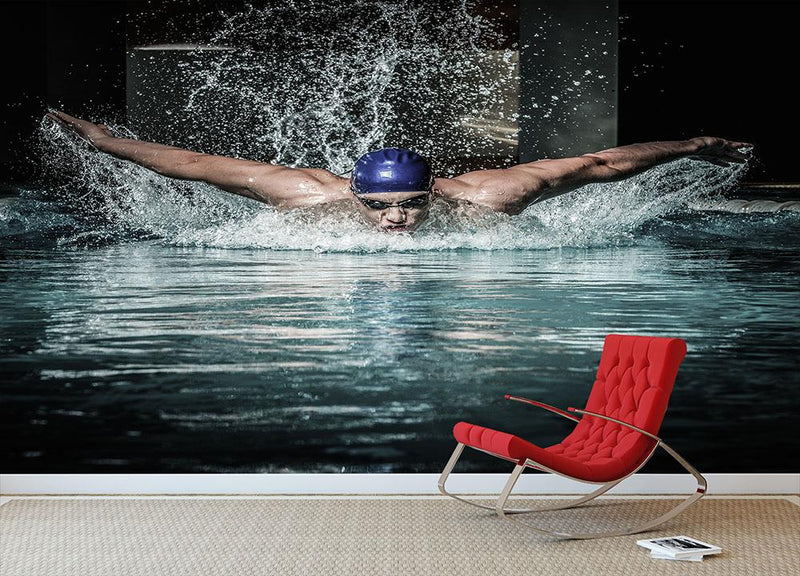 Swim using breaststroke technique Wall Mural Wallpaper - Canvas Art Rocks - 1