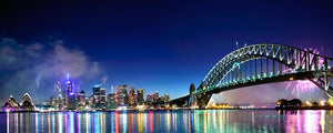 Sydney Harbour NYE Fireworks Wall Mural Wallpaper - Canvas Art Rocks - 1